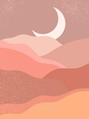 Plakat Abstract contemporary aesthetic background with landscape, desert, mountain, Moon. Earth tones, burnt orange, terracotta colors. Boho wall decor. Mid century modern minimalist art print. Organic shape