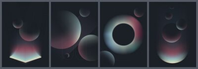 Plakat Abstract creative patterns in dark colors, geometric shapes with gradient colors, trendy vector collection