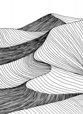 Plakat Abstract desert sahara landscape. Line art hand drawn illustration. Desert landscape view. Sand dunes line drawing vector. Black and white mountain view, summer poster design. Summer holidays art work