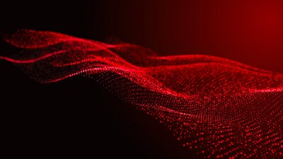 Plakat Abstract digital background. Futuristic wave of dots and weave lines. Digital technology. 3d rendering.