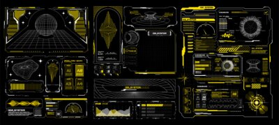 Plakat Abstract digital technology. Futuristic HUD, FUI, Virtual Interface. Cyberpunk retro futurism concept. Vaporwave abstract elements for web banners,  Futuristic info boxes layout templates. Hologram