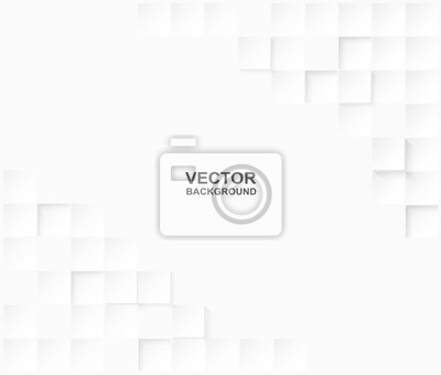 Plakat Abstract. Embossed paper square white Background ,light and shadow .Vector.