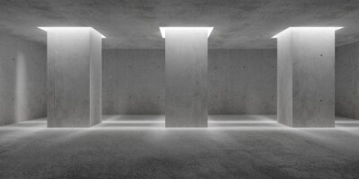 Plakat Abstract empty, modern concrete walls room with indirect lit pillars and rough floor - industrial interior or gallery background template