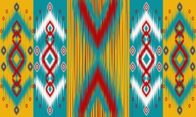 Plakat Abstract ethnic ikat chevron pattern background. ,carpet,wallpaper,clothing,wrapping,Batik,fabric,Vector illustration.embroidery style.