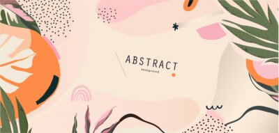 Plakat Abstract floral organic shapes background. Contemporary modern hand drawn vector illustration.