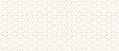 Plakat Abstract geometric seamless pattern in traditional Arabian style. Golden ornament with thin lines, oriental mosaic, subtle grid. Gold and white background. Modern minimal design for decor, wallpaper