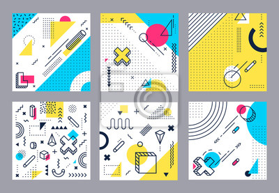 Plakat Abstract geometrical background. Modern geometric shapes, funky minimal and memphis style square cards design. 80s retro pop backdrop wallpaper isolated vector illustration set