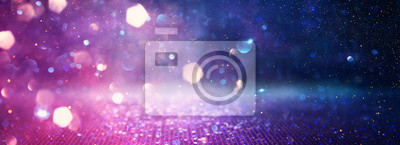 Plakat abstract glitter pink, purple and blue lights background. de-focused. banner