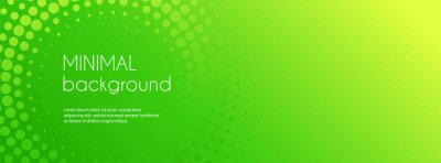 Plakat Abstract green gradient vector banner. Halftone dotted minimal contemporary long background