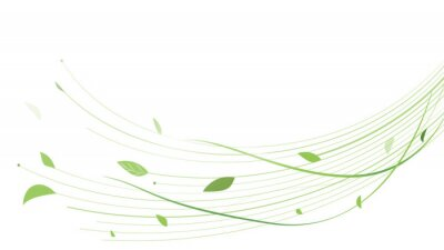 Plakat Abstract green lines floral vector background. Vector illustration