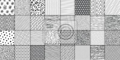 Plakat Abstract hand drawn geometric simple minimalistic seamless patterns set. Polka dot, stripes, waves, random symbols textures. Vector illustration