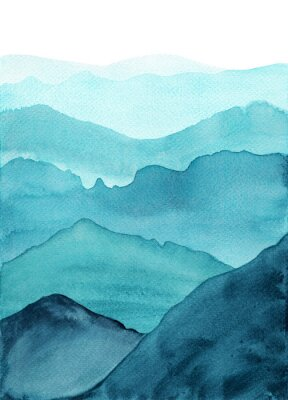 Plakat abstract indigo blue watercolor waves mountains on white background