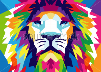 Plakat Abstract Lion Background Vector, Lion Illustration