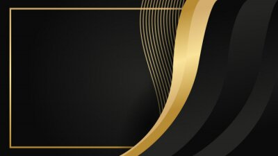 Plakat Abstract luxurious black gold background. Modern dark banner template vector with geometric shape patterns . Futuristic digital graphic design