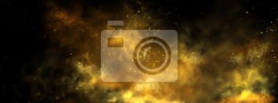 Plakat Abstract magic gold dust background over black. Beautiful golden art widescreen background