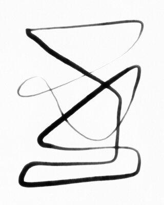 Plakat abstract minimal black line art ink illustration
