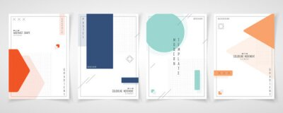 Plakat Abstract minimal design of set brochure geometric pattern template. Overlapping with element style of cover a4 background. illustration vector