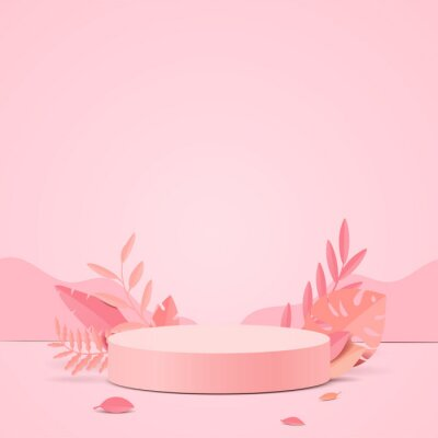 Plakat Abstract minimal scene with geometric forms. cylinder podium display or showcase mockup for product in pink background with paper leaves.