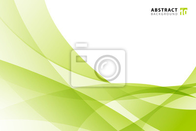 Plakat Abstract modern light green wave element on white background with copy space.