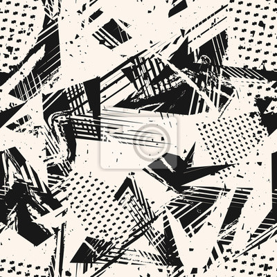 Plakat Abstract monochrome grunge seamless pattern. Urban art texture with paint splashes, chaotic shapes, lines, dots, triangles, patches. Black and white graffiti style vector background. Repeat design