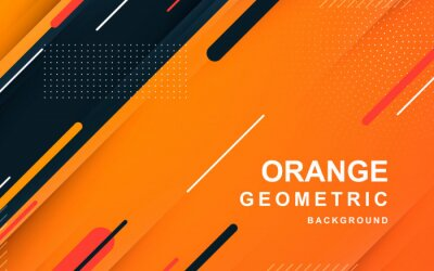 Plakat Abstract orange background. Geometric element design with dots decoration.