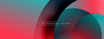 Plakat Abstract overlapping lines and circles geometric background with gradient colors