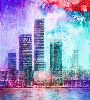 Plakat Abstract painting of urban skyscrapers. Digital art painting