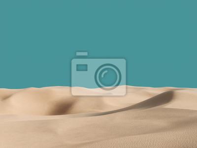 Plakat Abstract pure sand dunes in desert under blue empty sky