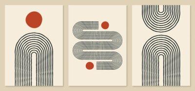 Plakat Abstract rainbow and sun illustrations. Trendy mid century art, boho home decor, wall art. Scandinavian minimalist art.