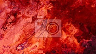 Plakat Abstract red paint background. Color gradient texture. Liquid mix fluid blend surface. Acrylic marble effect layer technique.