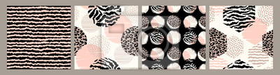 Plakat Abstract seamless patterns with animal print. Trendy hand drawn textures