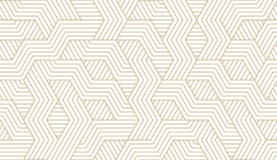 Plakat Abstract simple geometric vector seamless pattern with gold line texture on white background. Light modern simple wallpaper, bright tile backdrop, monochrome graphic element