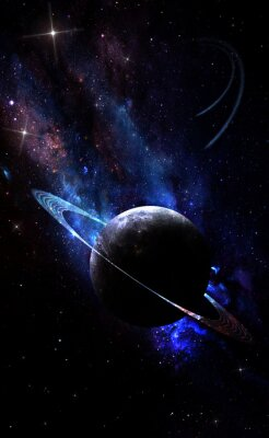 Plakat abstract space illustration, planet Saturn and the magic shining of bright stars