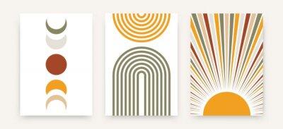 Plakat Abstract sun moon poster set. Contemporary minimalist backgrounds modern boho style. Mid century wall decor, vector art print