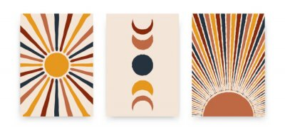 Plakat Abstract sun moon posters. Contemporary backgrounds, set of covers modern boho style. Mid century wall decor, vector art print