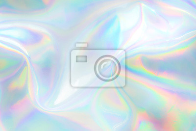 Plakat Abstract trendy holographic background. Real texture in pale violet, pink and mint colors with scratches and irregularities