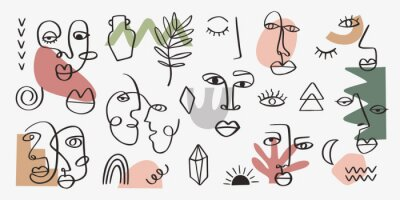 Plakat Abstract tribal woman portrait set in continuous line art. Fashion contemporary elements with ethnic female faces, leaves, flowers, shapes in modern Ink painting style. Minimalistic aesthetic concept
