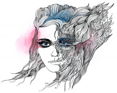 Plakat abstract urządzone twarz (seria C)