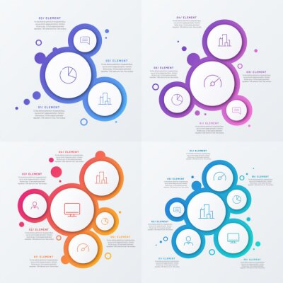 Plakat Abstract vector gradient minimalistic infographic template composed of circles
