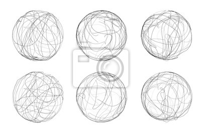 Plakat abstract vector sphere of lines and curves. set