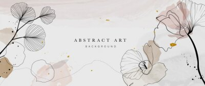 Plakat Abstract watercolor art background vector. Gingko and botanical line art wallpaper. Luxury cover design with text, golden texture and brush style. floral art for wall decoration and prints.