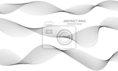 Plakat Abstract wave element for design. Digital frequency track equalizer. Stylized line art background. Vector illustration. Wave with lines created using blend tool. Curved wavy line, smooth stripe.
