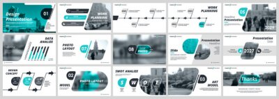 Plakat Abstract white, green slides. Brochure cover design. Fancy info banner frame. Creative set of infographic elements. Urban. Title sheet model set. Modern vector. Presentation templates, corporate.
