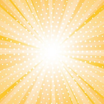Plakat Abstract yellow background with sun ray and dots