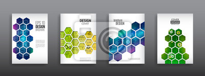 Plakat Abstrakcjonistyczna technologia pokrywa z sześciokątnymi elementami. Zaawansowana technologia projektowania broszur. Futurystyczny układ biznesowy. Cyfrowe szablony plakatowe.