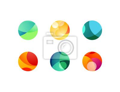 Plakat Abstrakcjonistyczne kółkowe sfer ikony z pokrywać się okręgi i round kształty.