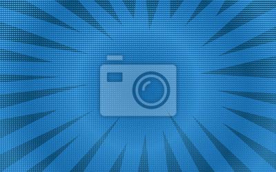 Plakat Abstrakcjonistyczny błękitny retro komiczny tło z zaokrąglonym halftone cieniem. Kreskówka turkus tło z ciemne paski wskazał narożniki rama dla książki komiksu, projekt reklamy, plakat, druk