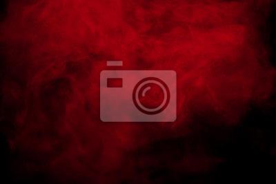 Plakat Abstrakcjonistyczny czerwień dym na czarnym tle. Chmury w kolorze czerwonym.