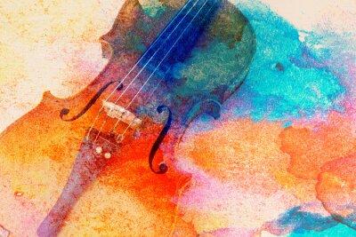 Plakat Abstrakcjonistyczny skrzypcowy tło - skrzypcowy lying on the beach na stole