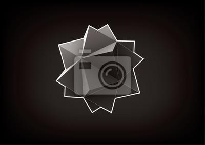 Plakat Abstrakcyjna geometryczny kształt z piramid dla projektu graficznego na czarnym tle